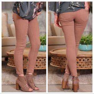 ✨LAST PAIR✨Mocha distressed skinny jeans